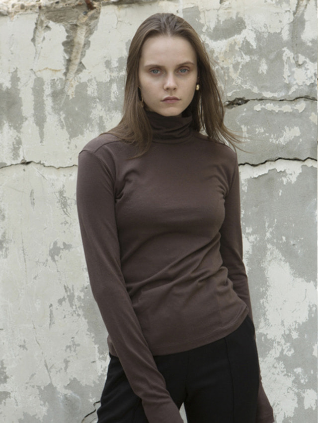 17FW LONG SLEEVE BASIC TURTLENECK BROWN