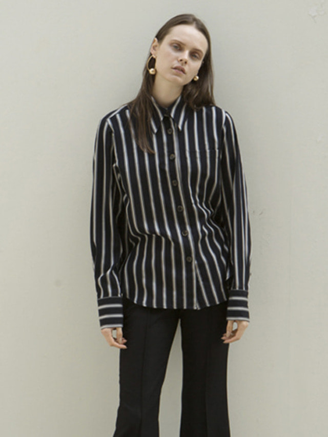 17FW MODERN STRIPED BLOUSE NAVY