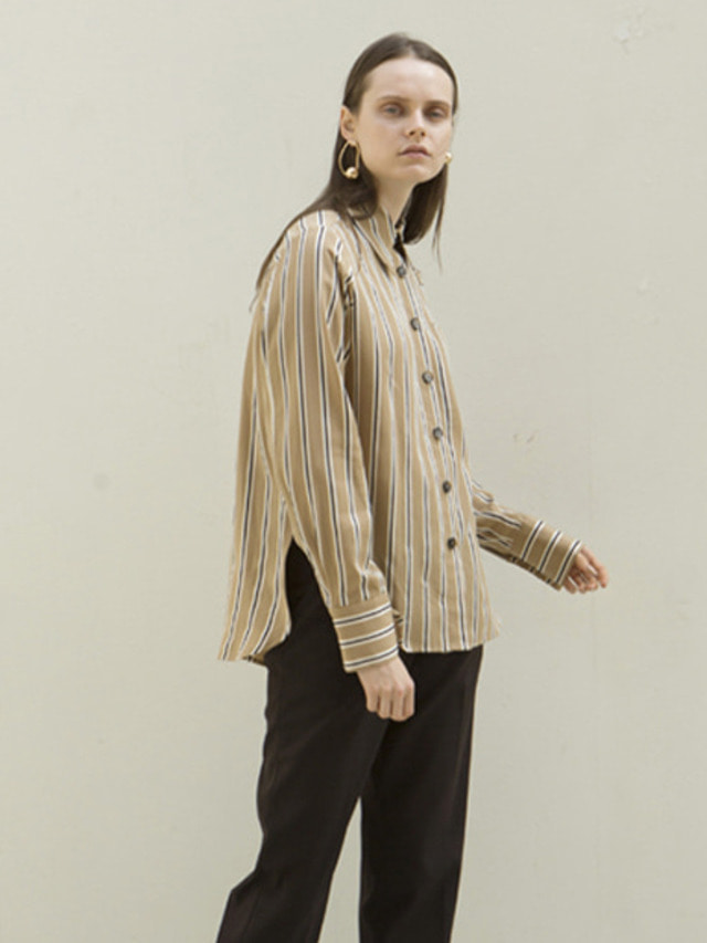 17FW MODERN STRIPED BLOUSE CAMEL