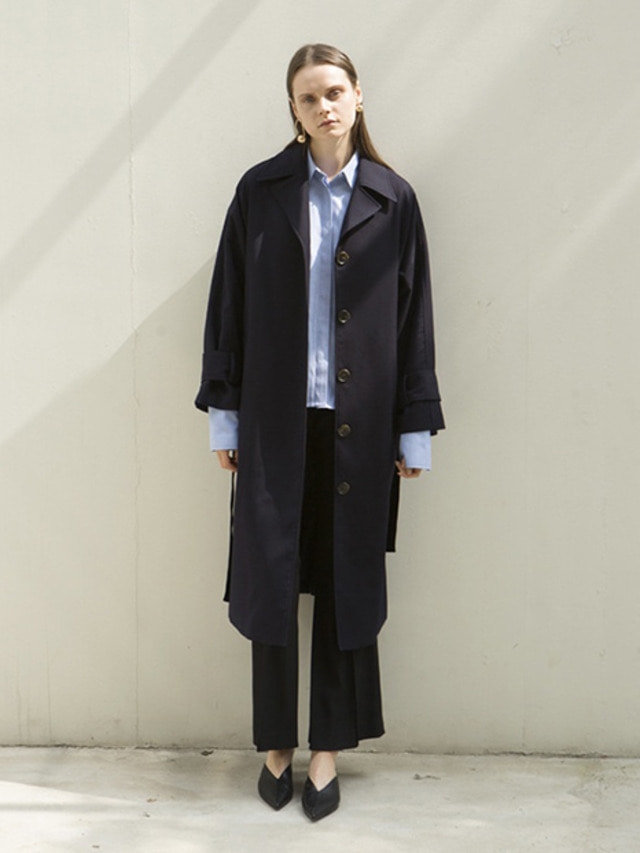17FW OVERSIZED TRENCH COAT NAVY