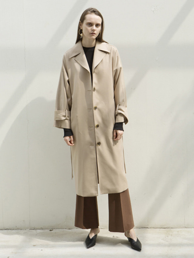 17FW OVERSIZED TRENCH COAT BEIGE