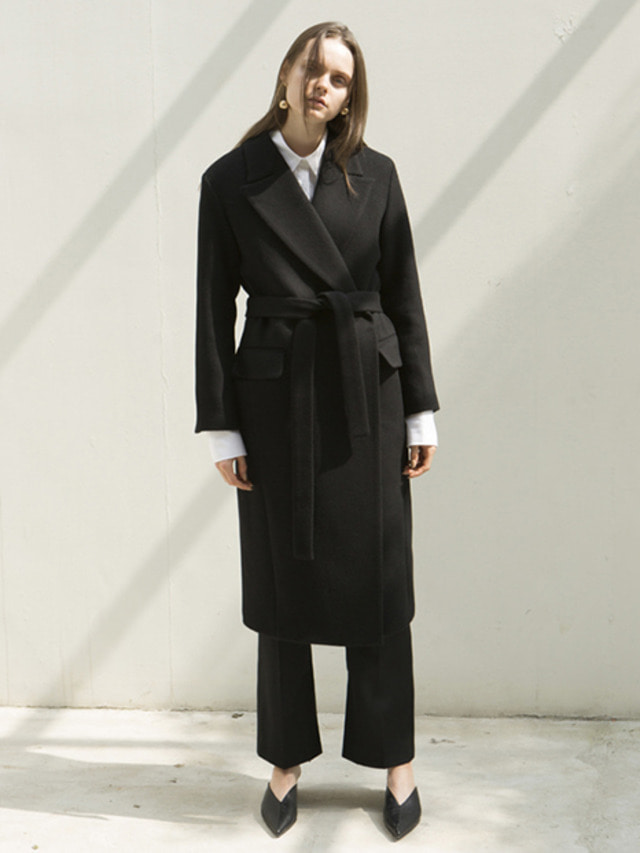 17FW PEAKED COLLAR LONG COAT BLACK