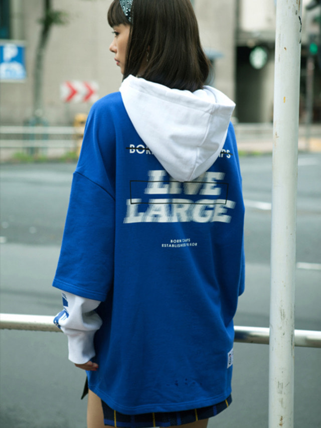 LIVE LARGE LAYERED HOOD BLUE CEQAMHD05BL