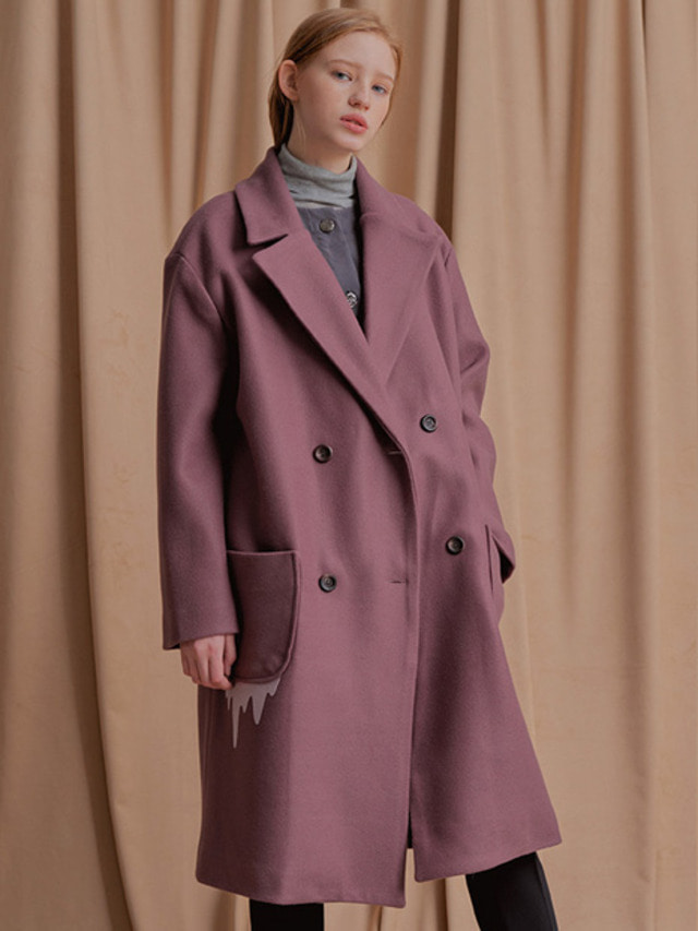 [NU PARCC]17F/W Word Wave Coat VIOLET