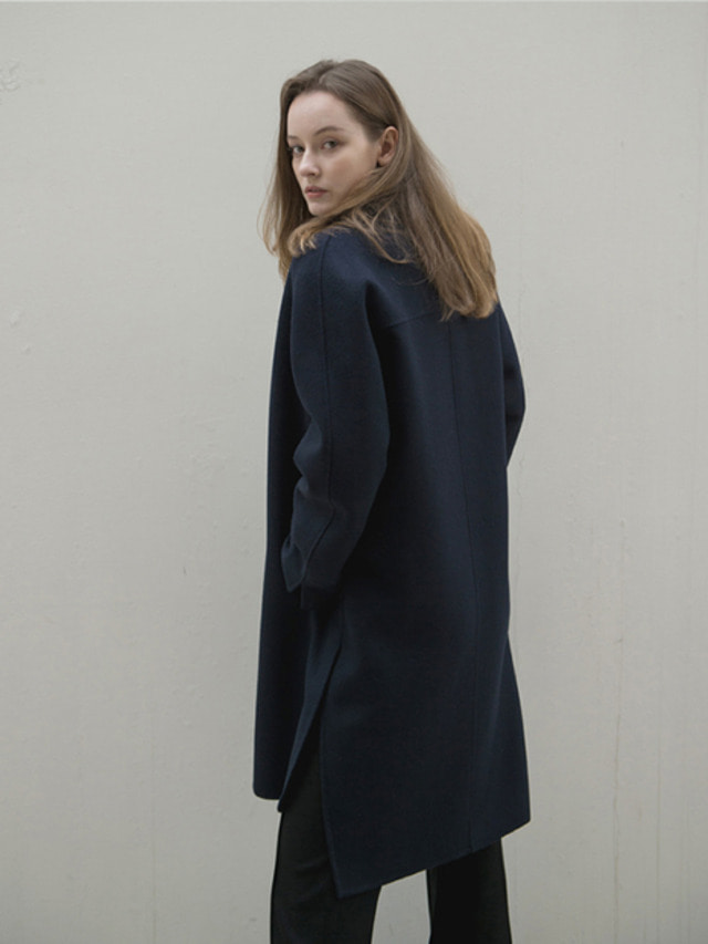 17FW NO COLLAR CASHMERE HAND MADE COAT NAVY