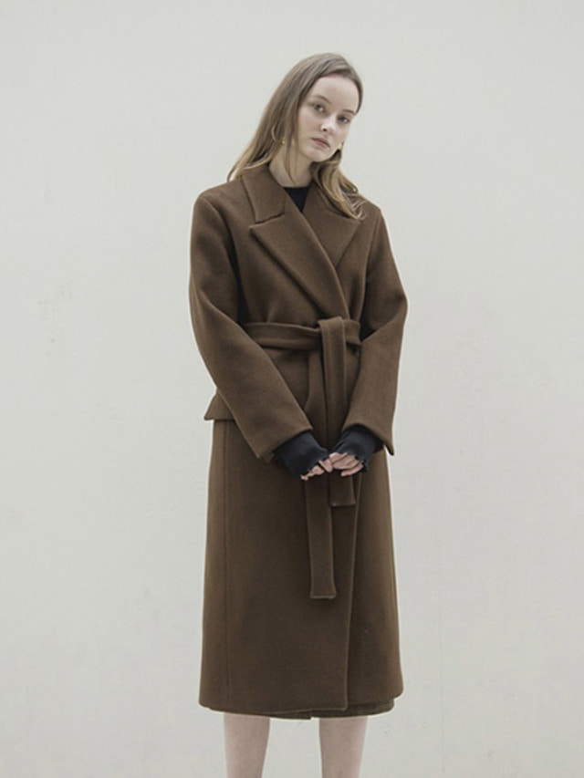 17FW PEAKED COLLAR LONG COAT BROWN