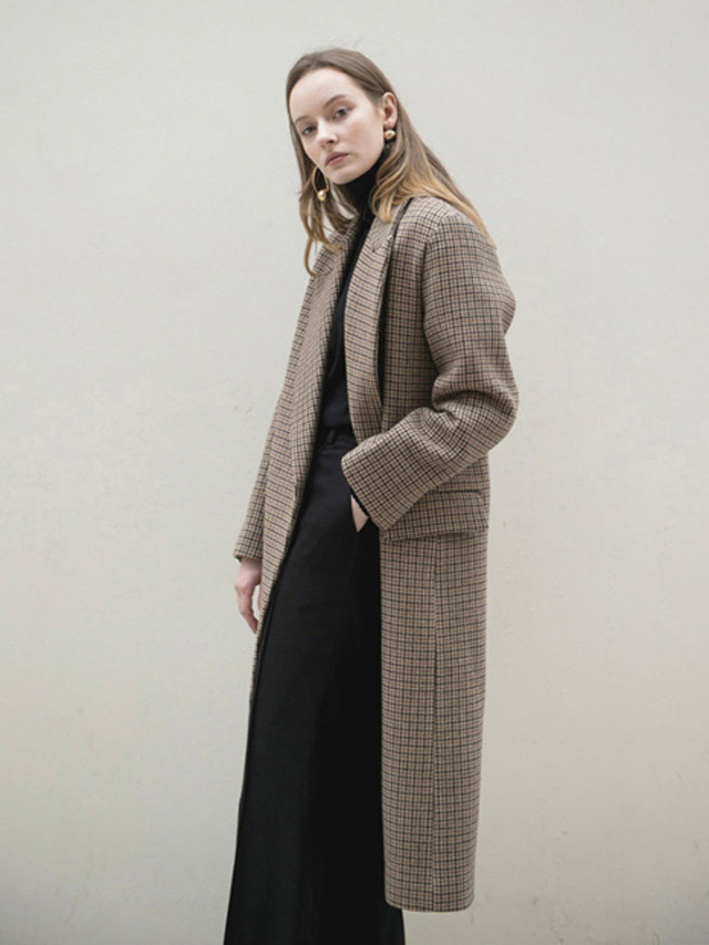 17FW PEAKED COLLAR LONG COAT CHECK