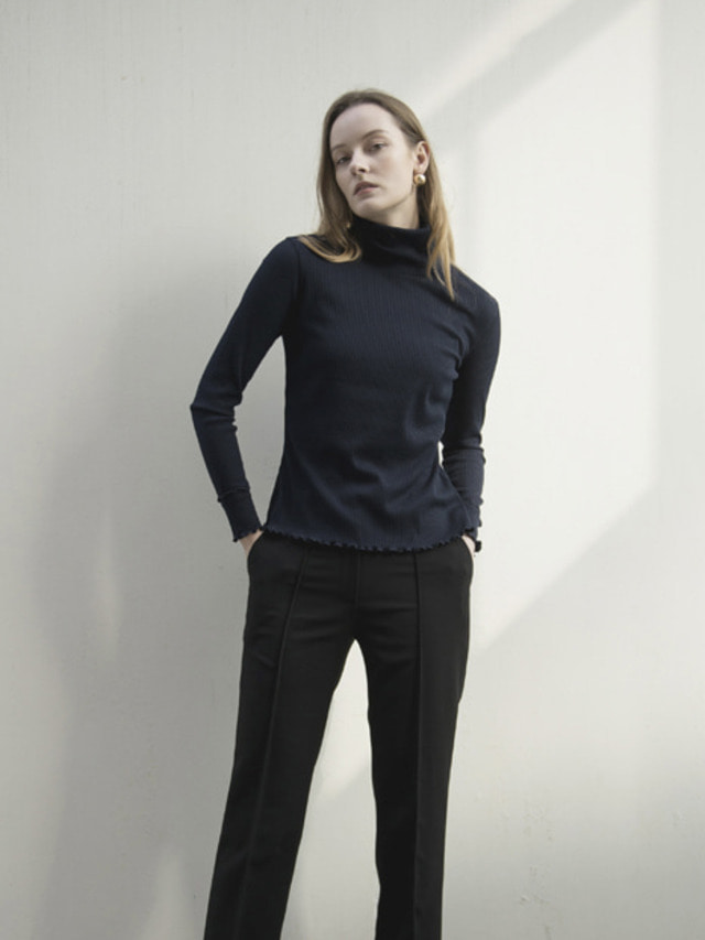 17FW RIBBED TURTLENECK TOP NAVY