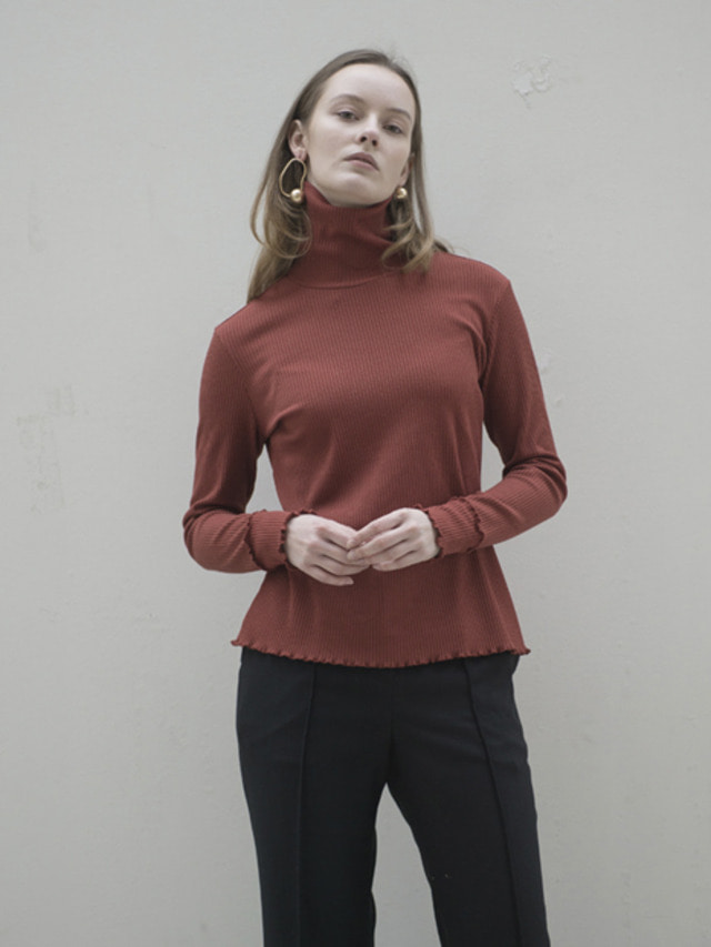 17FW RIBBED TURTLENECK TOP BRICK