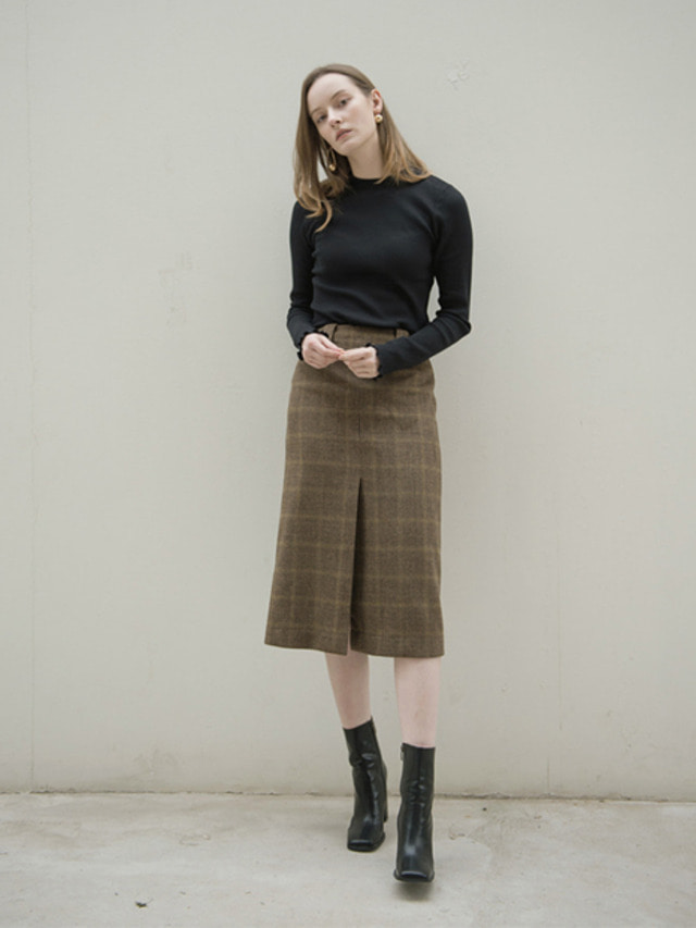 17FW FRONT VENTED CHECK SKIRT BROWN