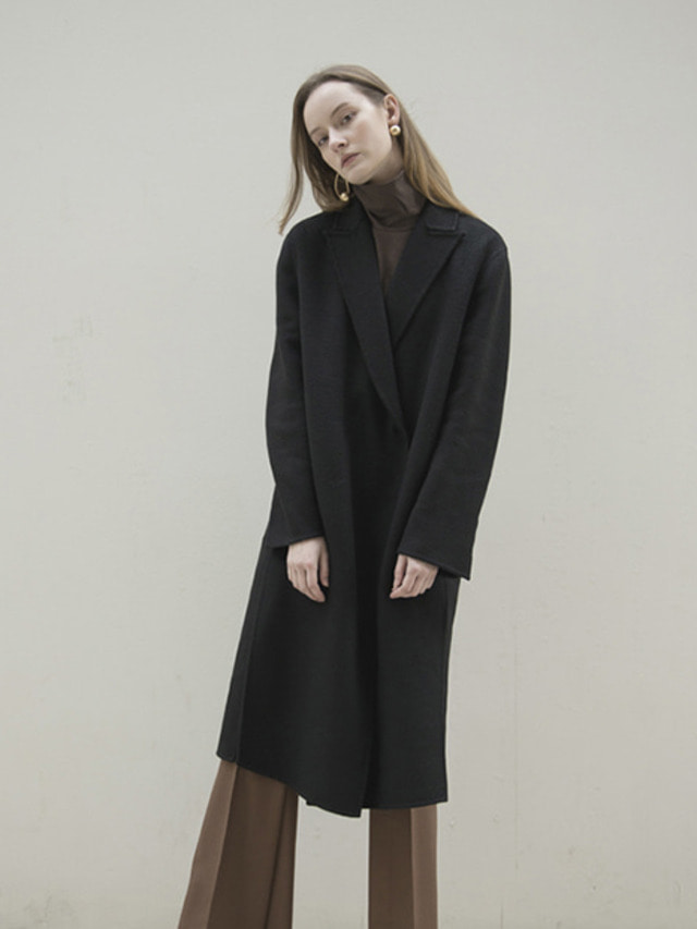 17FW PEAKED COLLAR CASHMERE HAND MADE COAT BLACK