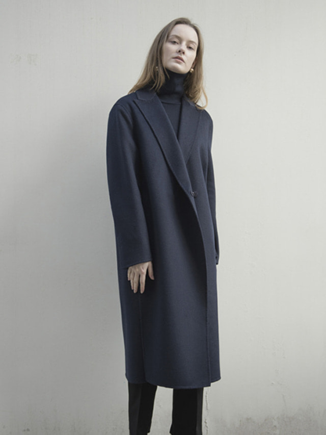 17FW PEAKED COLLAR CASHMERE HAND MADE COAT NAVY