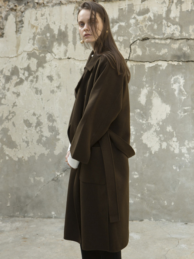 17FW OVERSIZED DOUBLE HAND MADE COAT KHAKI