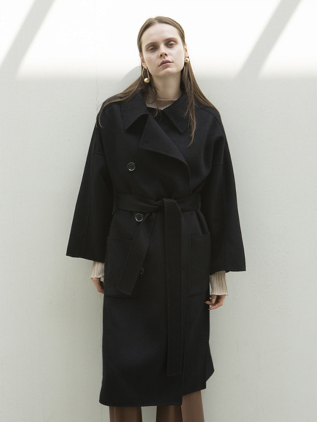 17FW OVERSIZED DOUBLE HAND MADE COAT BLACK