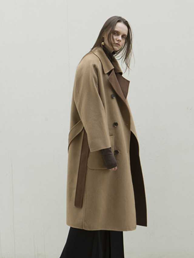 17FW OVERSIZED DOUBLE HAND MADE COAT BEIGE&BROWN