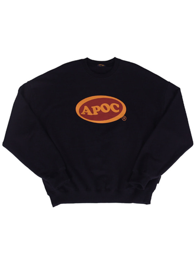 [A PIECE OF CAKE]Oval Logo Crewneck_Navy