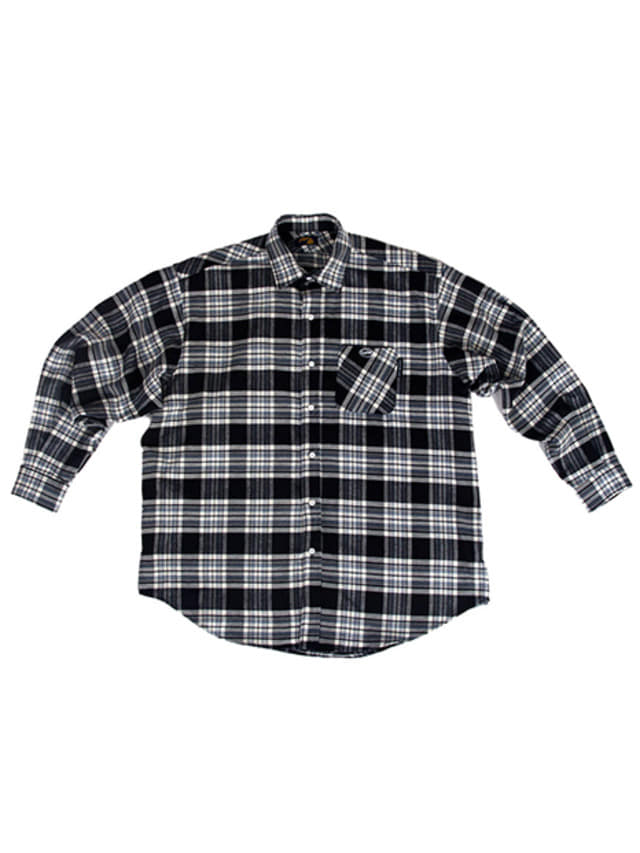 [A PIECE OF CAKE]Oval Logo Check Shirts_Black