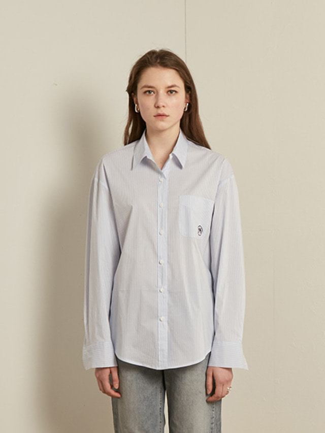[13month]BASIC STRIPE COTTON SHIRT (SKY BLUE)