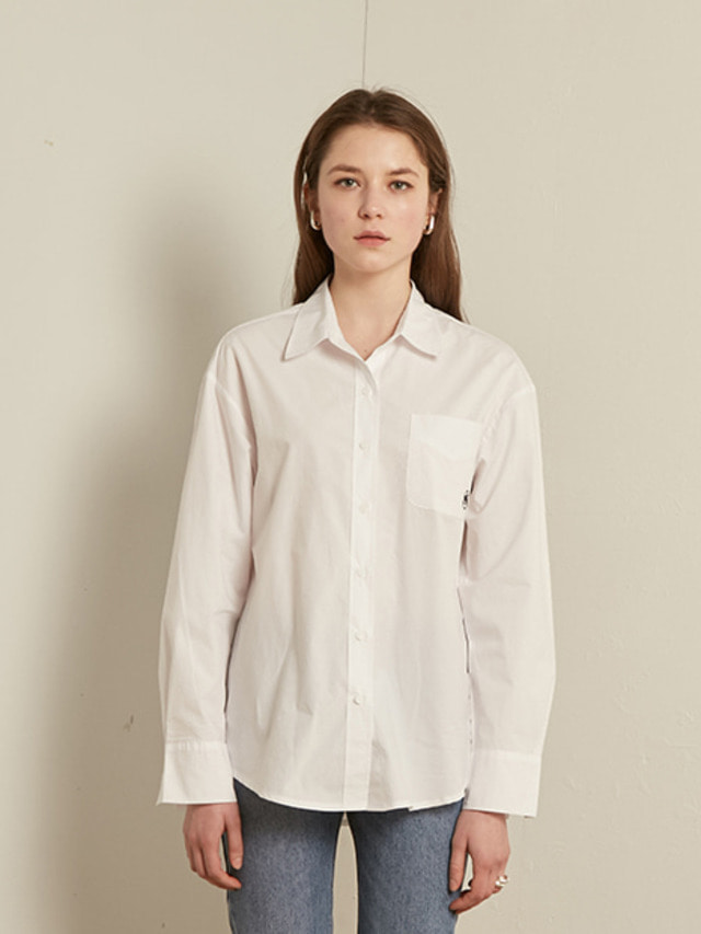 [13month]SOLID COTTON SHIRT (WHITE)