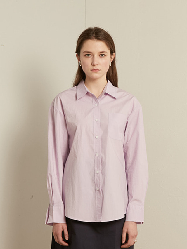 [13month]SOLID COTTON SHIRT (PURPLE)