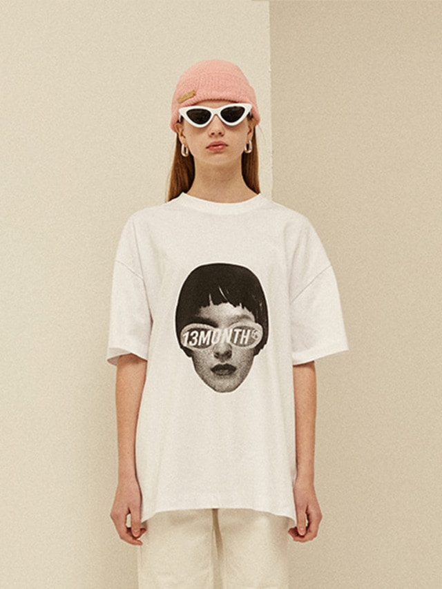 [13month]FACE PRINTING T-SHIRT (WHITE)