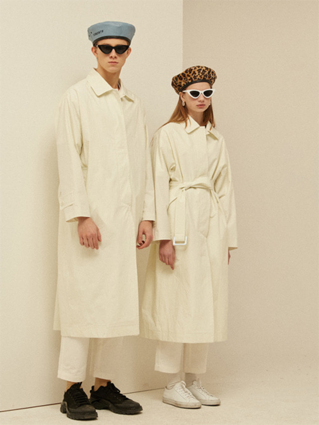 [13month]SINGLE LONG TRENCH COAT (IVORY)