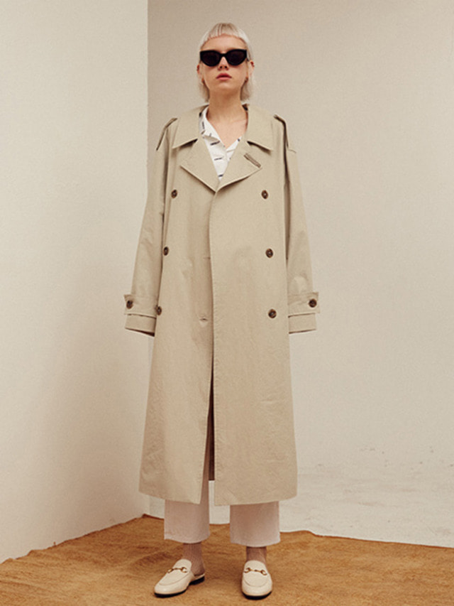 [13month]BACK OPEN LONG TRENCH COAT (GRAY)