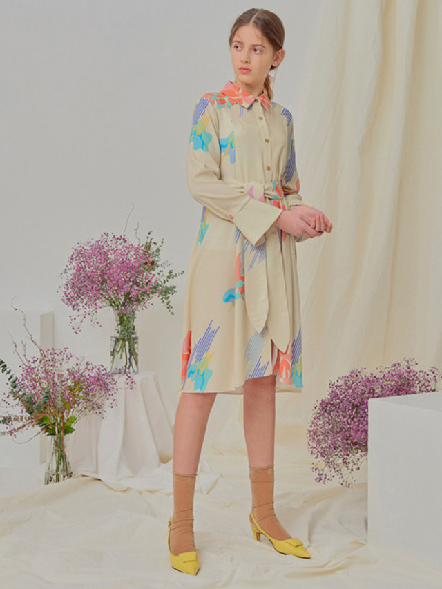 [NUPARCC]Painted Floral Shirtdress