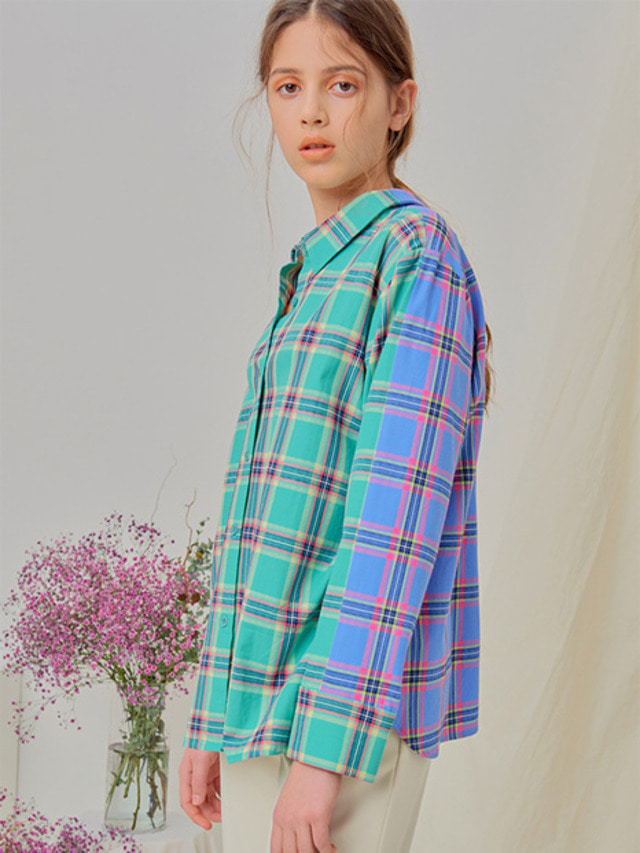 [NUPARCC]Reversible Plaid Shirt - GN&BL