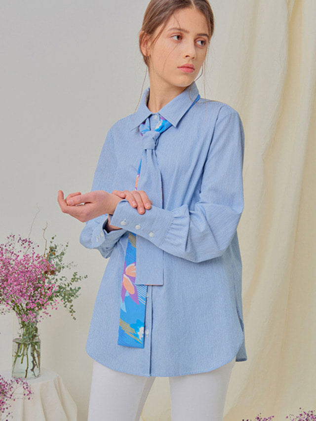 [NUPARCC]Double Side Bow Shirt - BL