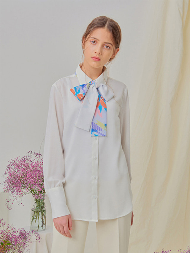[NUPARCC]Double Side Bow Shirt - WH