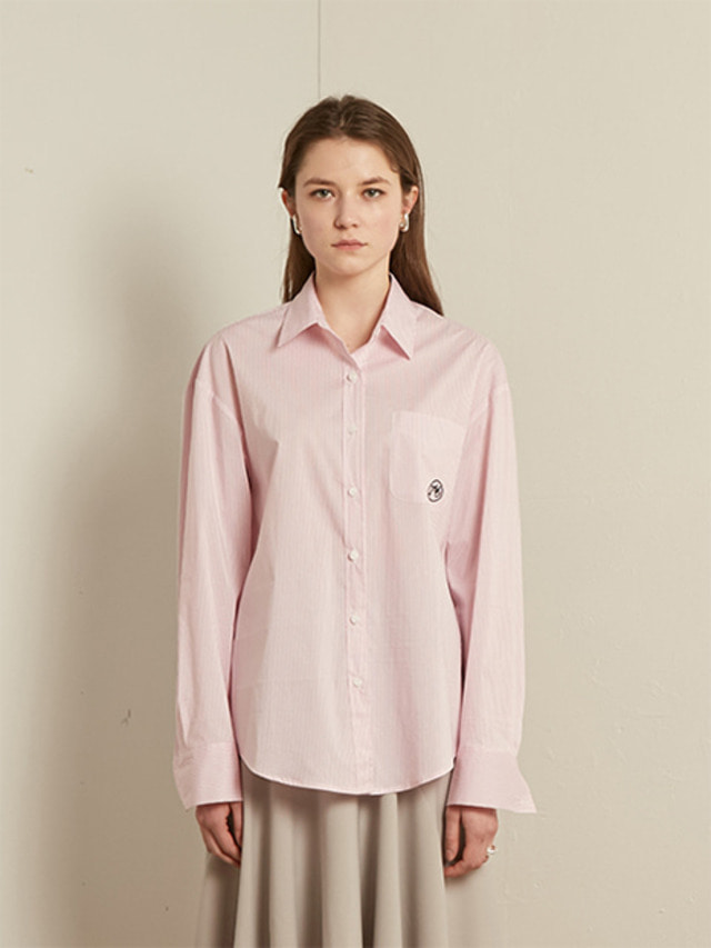[13month]BASIC STRIPE COTTON SHIRT (PINK)