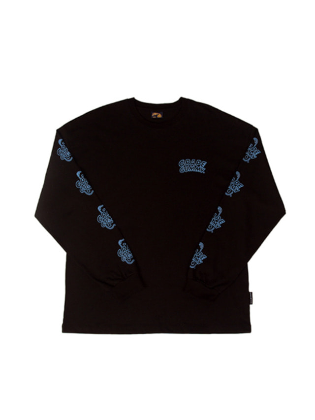 [A PIECE OF CAKE]Grape Gummy Multi-Logo Longsleeve_Black