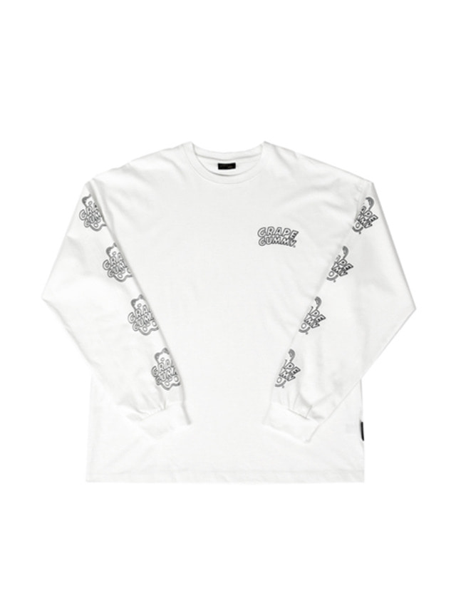 [A PIECE OF CAKE]Grape Gummy Multi-Logo Longsleeve_White