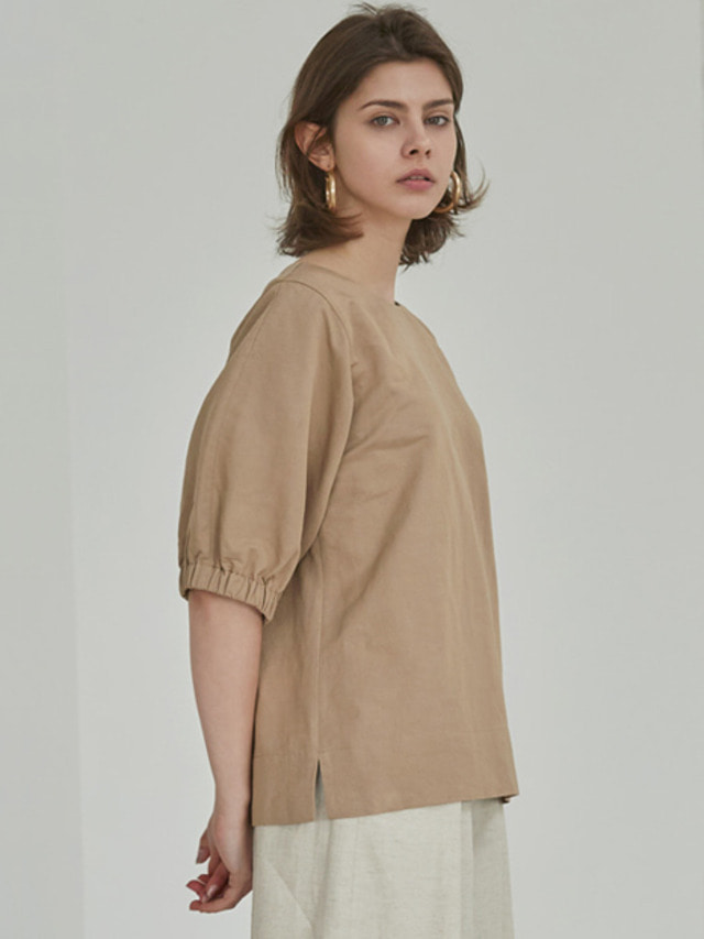 [MOHAN]18SS PUFF SLEEVE BLOUSE BEIGE
