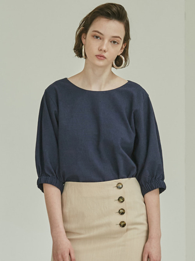 [MOHAN]18SS PUFF SLEEVE BLOUSE NAVY