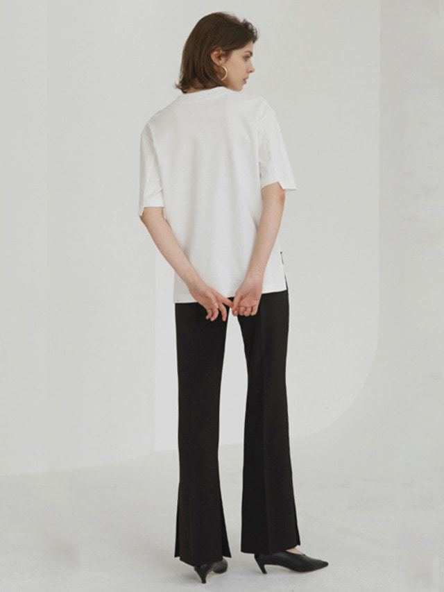 [MOHAN]18SS SLIT FLARED TROUSERS BLACK