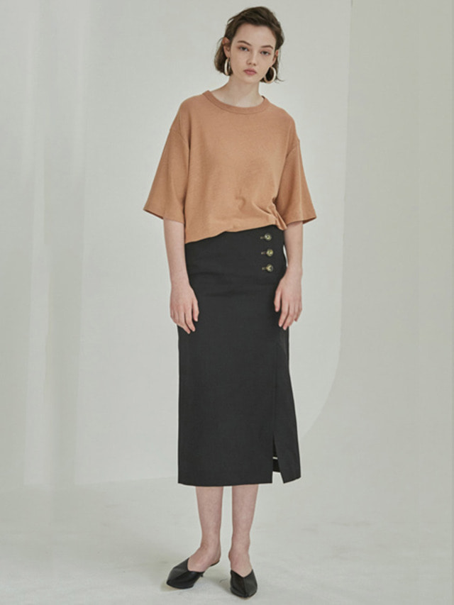 [MOHAN]18SS SIDE BUTTON SLIT SKIRT BLACK