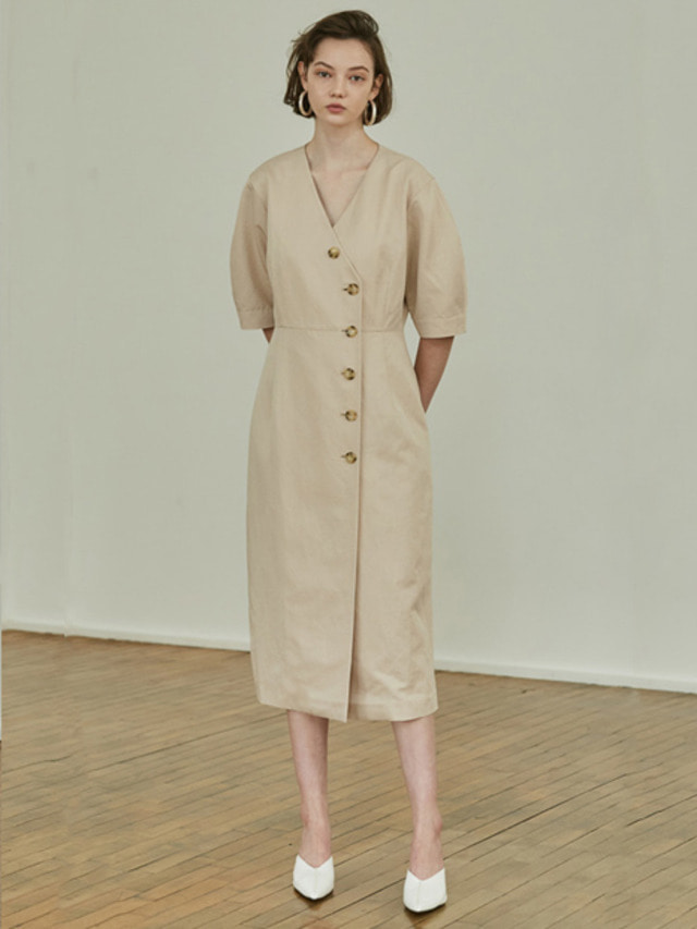 [MOHAN]18SS BUTTON VOLUME DRESS BEIGE
