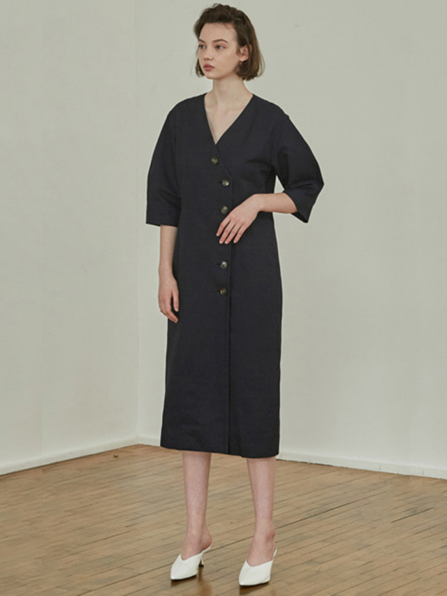 [MOHAN]18SS BUTTON VOLUME DRESS NAVY