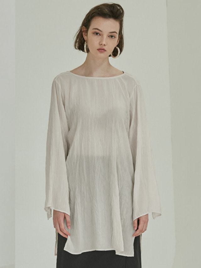 [MOHAN]18SS NATURAL PLEATED BLOUSE IVORY