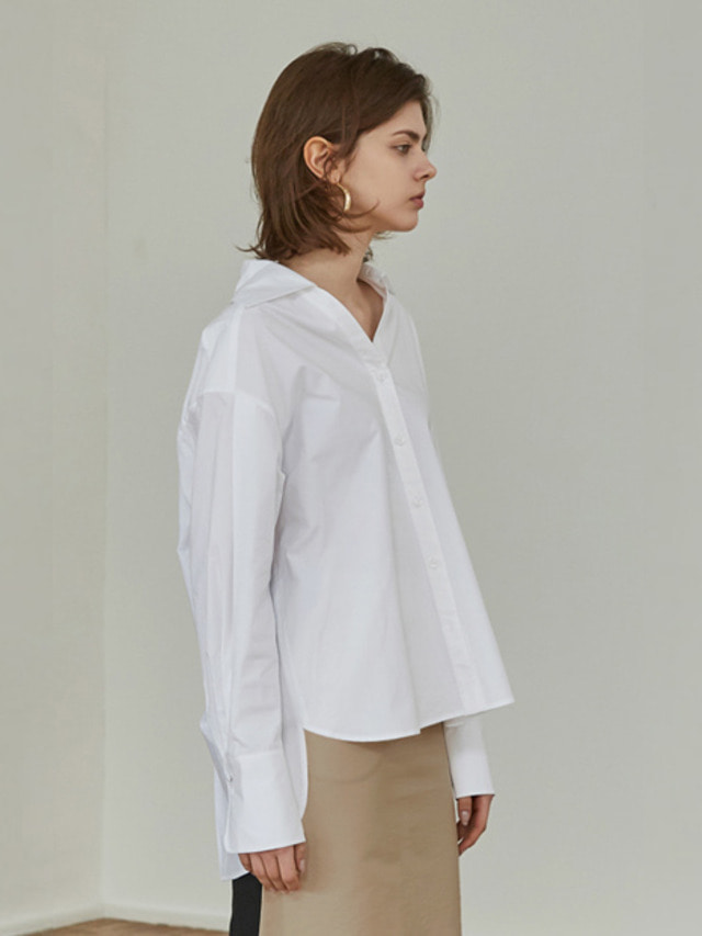 [MOHAN]18SS WIDE COLLAR V-NECK SHIRT WHITE