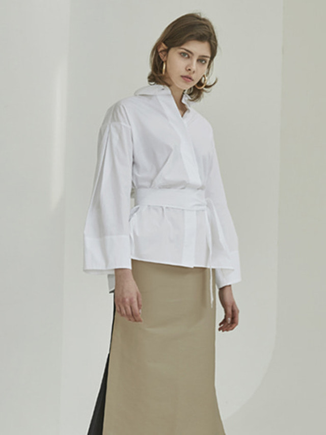 [MOHAN]18SS WIDE SLEEVE BELTED SHIRT WHITE