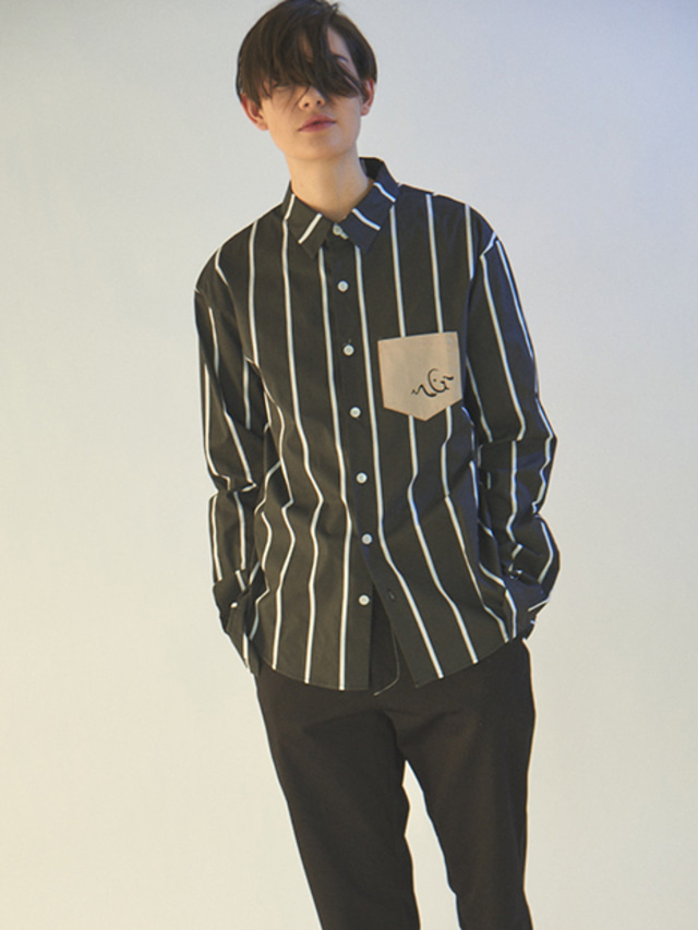 [MGI]TAILORED STRIPE SHIRTS BLACK