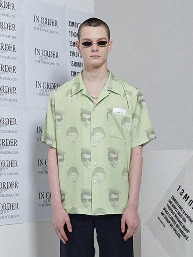 [13month]FACE PRINTING ALOHA SHIRT LIME