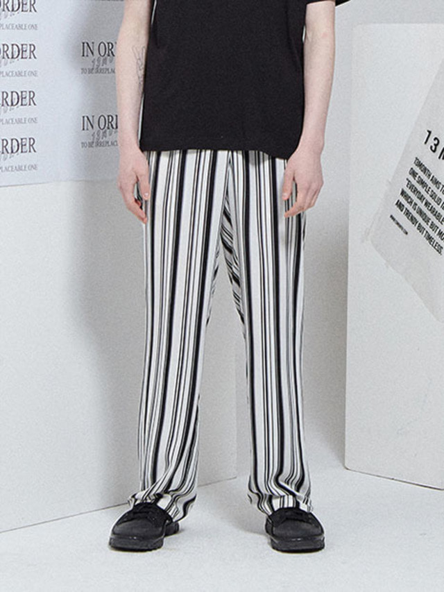 [13month]STRIPE WIDE BANDING PANTS WHITE