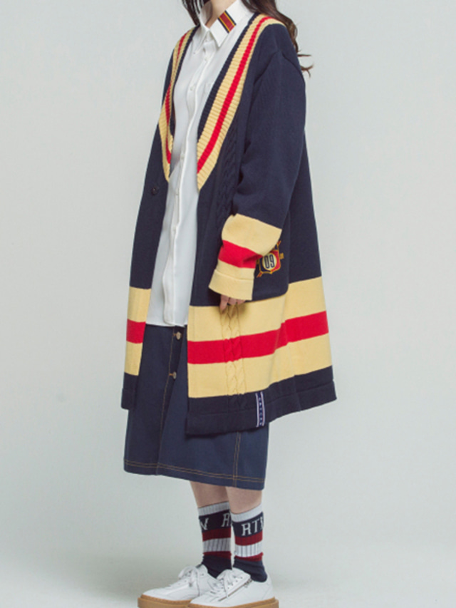 [ROMANTICCROWN] BAND LINE KNIT CARDIGAN NAVY