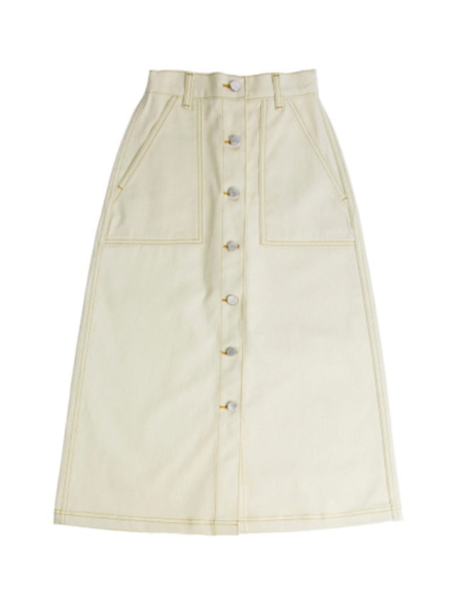 [ROMANTICCROWN] COTTON LONG SKIRT BEIGE