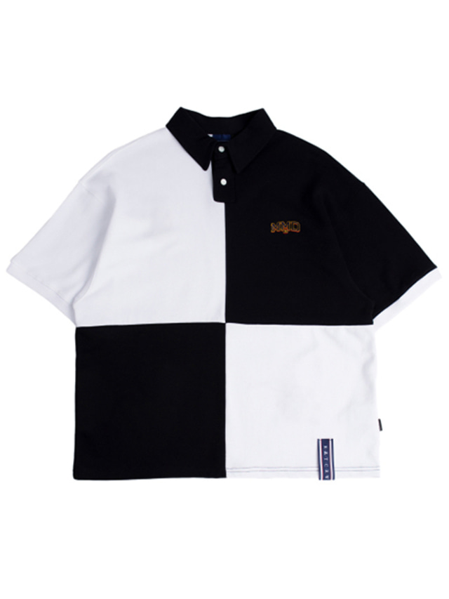[ROMANTICCROWN] QUARTER BLOCK HALF POLO WHITE
