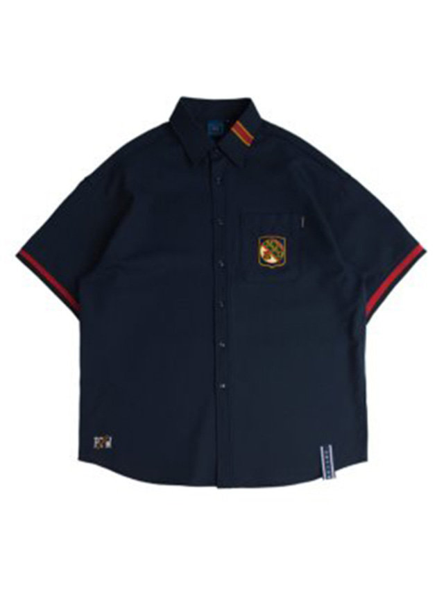 [ROMANTICCROWN] STRIPE HALF SHIRTS NAVY